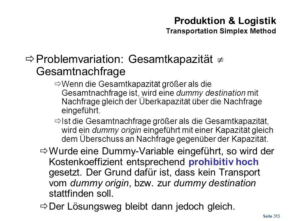 Seite 313 Produktion & Logistik Transportation Simplex Method Problemvariation: Gesamtkapazität Gesamtnachfrage Wenn die Gesamtkapazität größer als di