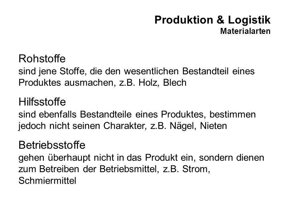 Produktion & Logistik Materialarten Rohstoffe sind jene Stoffe, die den wesentlichen Bestandteil eines Produktes ausmachen, z.B. Holz, Blech Hilfsstof