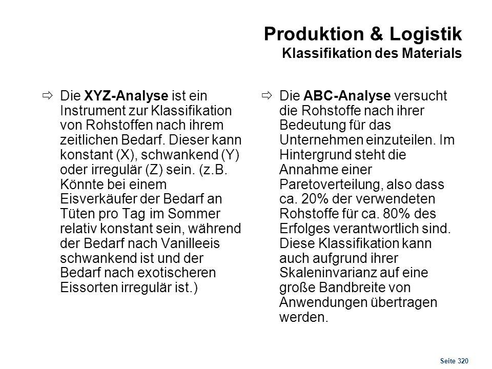 Seite 320 Produktion & Logistik Klassifikation des Materials Die XYZ-Analyse ist ein Instrument zur Klassifikation von Rohstoffen nach ihrem zeitliche