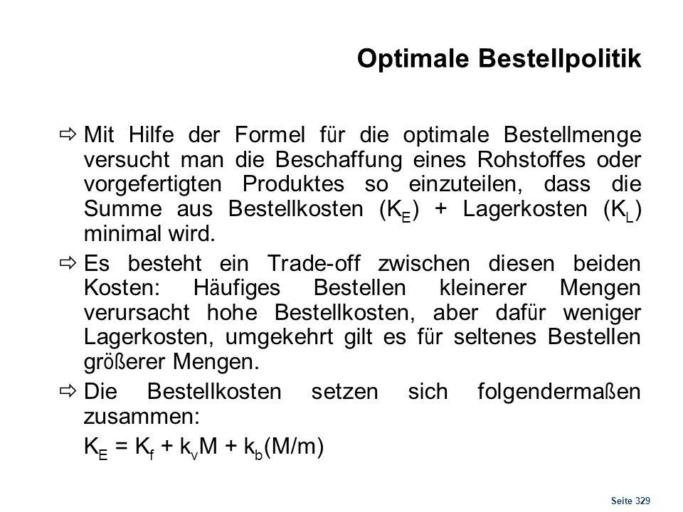 Seite 329 Optimale Bestellpolitik Mit Hilfe der Formel f ü r die optimale Bestellmenge versucht man die Beschaffung eines Rohstoffes oder vorgefertigt