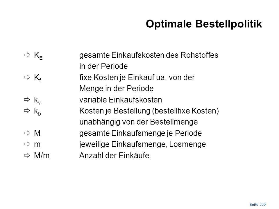 Seite 330 Optimale Bestellpolitik K E gesamte Einkaufskosten des Rohstoffes in der Periode K f fixe Kosten je Einkauf ua. von der Menge in der Periode