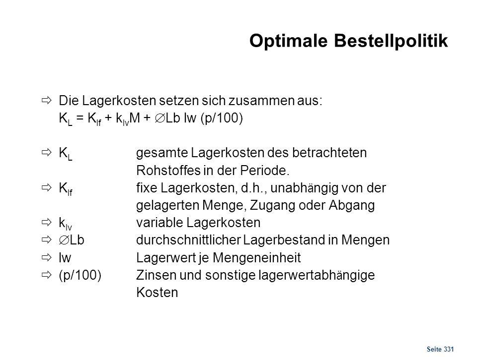 Seite 331 Optimale Bestellpolitik Die Lagerkosten setzen sich zusammen aus: K L = K lf + k lv M + Lb lw (p/100) K L gesamte Lagerkosten des betrachtet