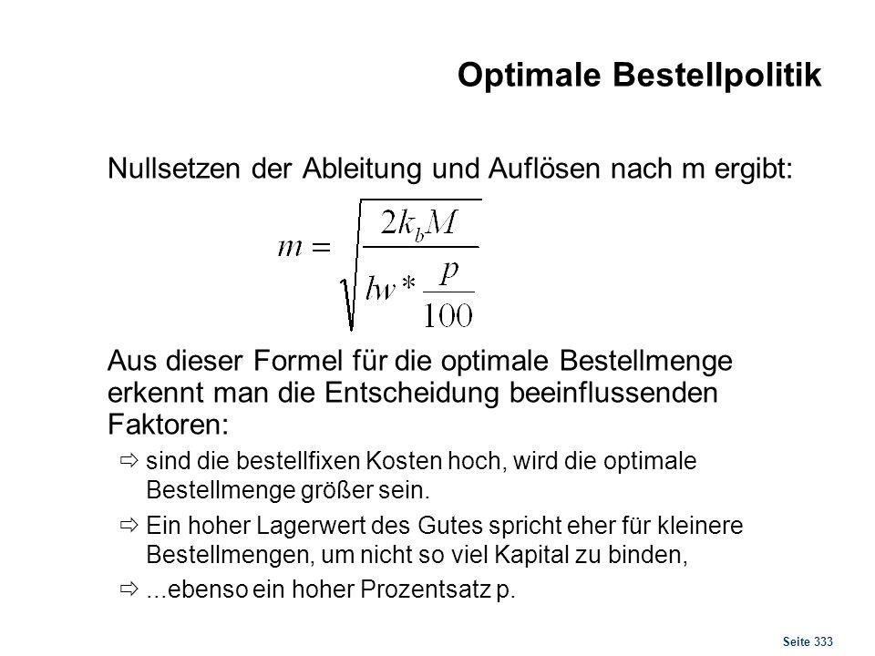 Seite 333 Optimale Bestellpolitik Nullsetzen der Ableitung und Auflösen nach m ergibt: Aus dieser Formel für die optimale Bestellmenge erkennt man die
