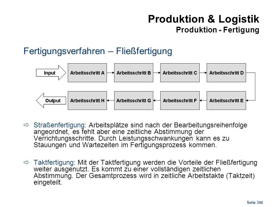 Seite 344 Produktion & Logistik Produktion - Fertigung Fertigungsverfahren – Fließfertigung Straßenfertigung: Arbeitsplätze sind nach der Bearbeitungs