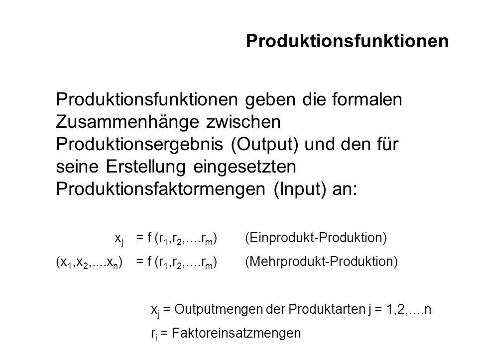 Produktionsfunktionen Produktionsfunktionen geben die formalen Zusammenhänge zwischen Produktionsergebnis (Output) und den für seine Erstellung einges