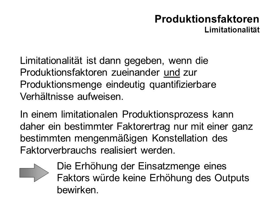 Produktionsfaktoren Limitationalität Limitationalität ist dann gegeben, wenn die Produktionsfaktoren zueinander und zur Produktionsmenge eindeutig qua