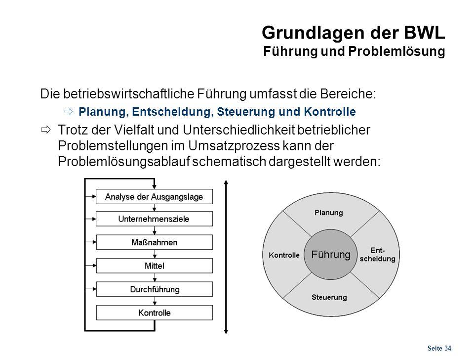 Seite 34 Grundlagen der BWL Führung und Problemlösung Die betriebswirtschaftliche Führung umfasst die Bereiche: Planung, Entscheidung, Steuerung und K