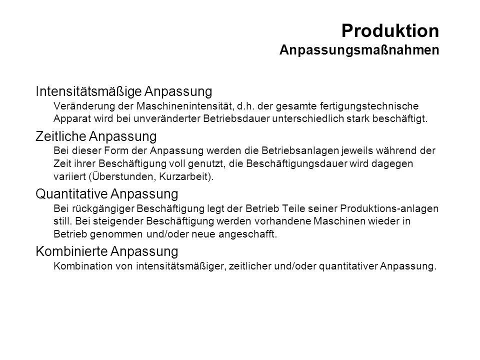 Produktion Anpassungsmaßnahmen Intensitätsmäßige Anpassung Veränderung der Maschinenintensität, d.h. der gesamte fertigungstechnische Apparat wird bei