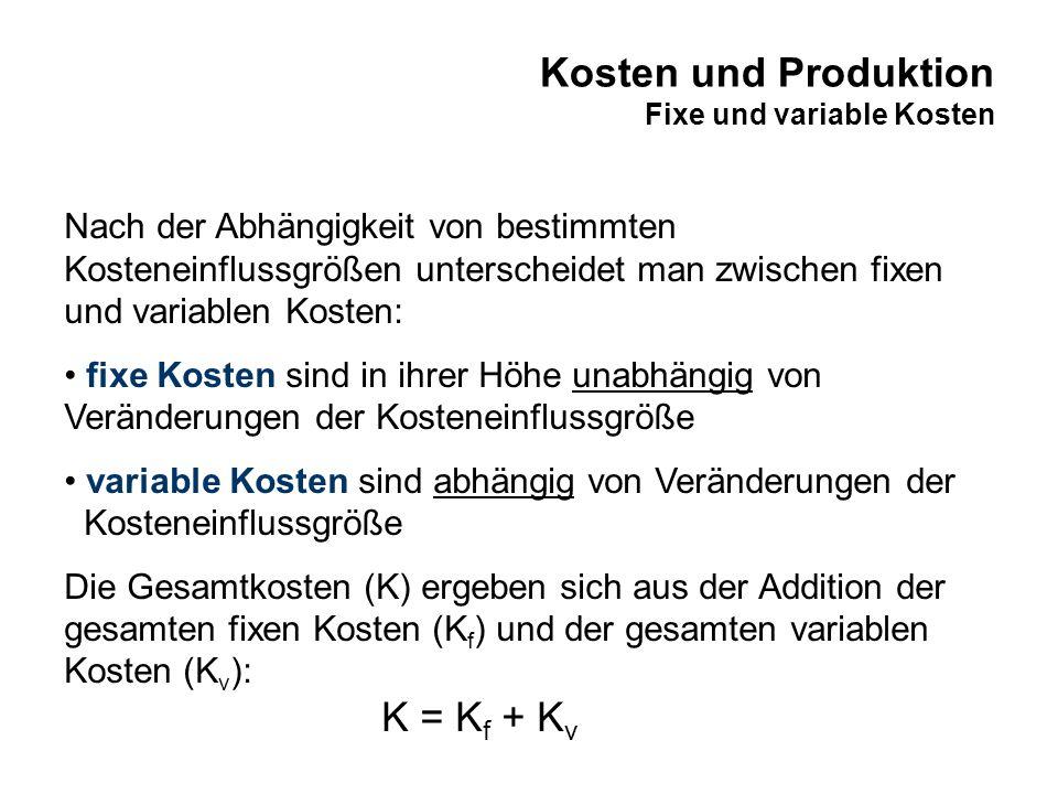 Kosten und Produktion Fixe und variable Kosten Nach der Abhängigkeit von bestimmten Kosteneinflussgrößen unterscheidet man zwischen fixen und variable