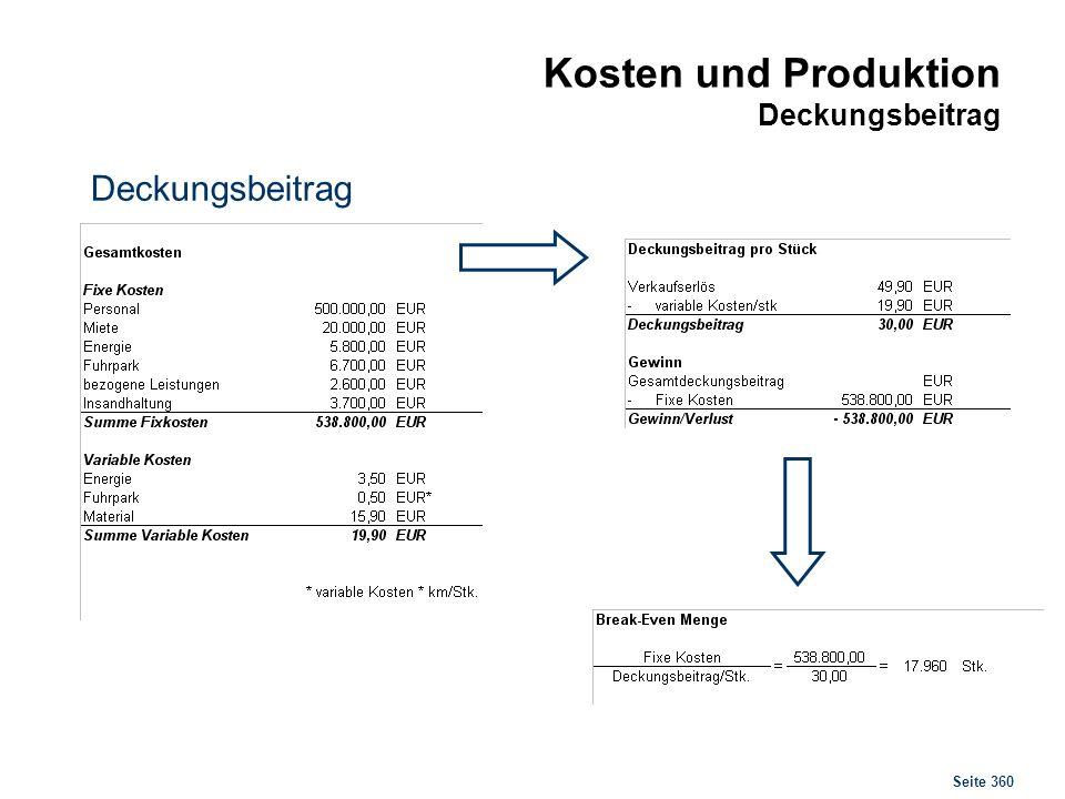 Seite 360 Kosten und Produktion Deckungsbeitrag Deckungsbeitrag