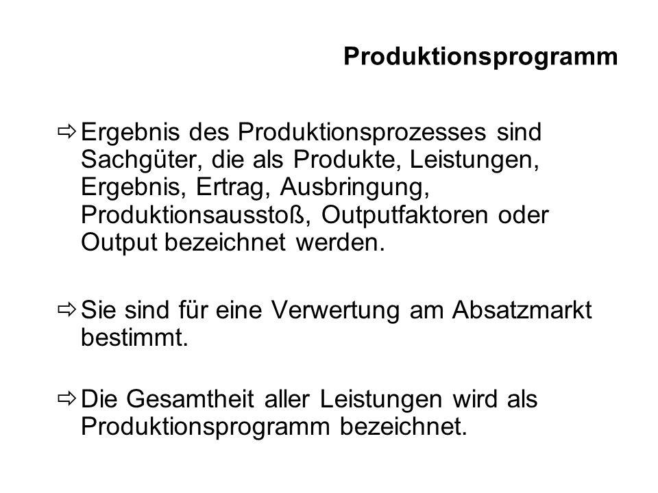 Produktionsprogramm Ergebnis des Produktionsprozesses sind Sachgüter, die als Produkte, Leistungen, Ergebnis, Ertrag, Ausbringung, Produktionsausstoß,