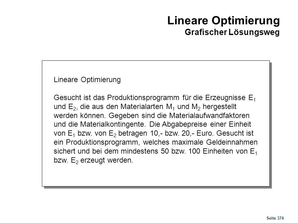 Seite 374 Lineare Optimierung Gesucht ist das Produktionsprogramm für die Erzeugnisse E 1 und E 2, die aus den Materialarten M 1 und M 2 hergestellt w