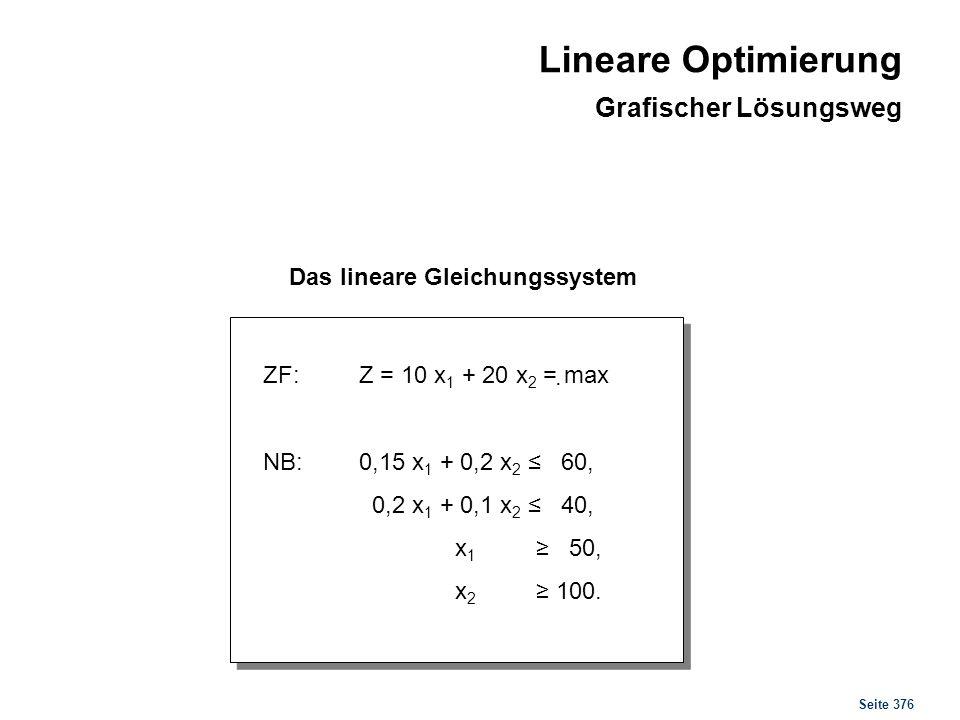 Seite 376. Das lineare Gleichungssystem ZF:Z = 10 x 1 + 20 x 2 = max NB:0,15 x 1 + 0,2 x 2 60, 0,2 x 1 + 0,1 x 2 40, x 1 50, x 2 100. Lineare Optimier
