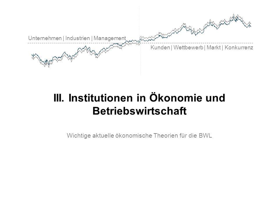 Unternehmen | Industrien | Management Kunden | Wettbewerb | Markt | Konkurrenz III. Institutionen in Ökonomie und Betriebswirtschaft Wichtige aktuelle