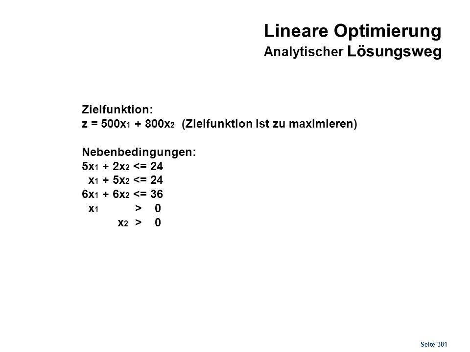 Seite 381 Zielfunktion: z = 500x 1 + 800x 2 (Zielfunktion ist zu maximieren) Nebenbedingungen: 5x 1 + 2x 2 <= 24 x 1 + 5x 2 <= 24 6x 1 + 6x 2 <= 36 x
