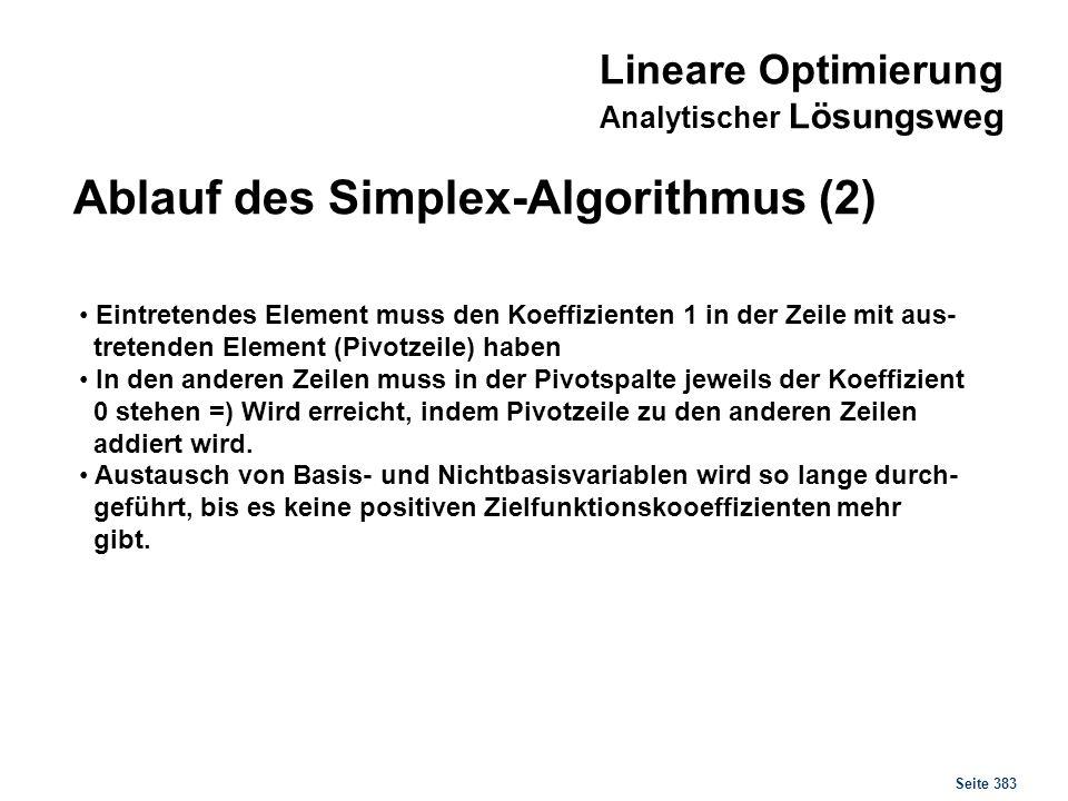 Seite 383 Ablauf des Simplex-Algorithmus (2) Eintretendes Element muss den Koeffizienten 1 in der Zeile mit aus- tretenden Element (Pivotzeile) haben