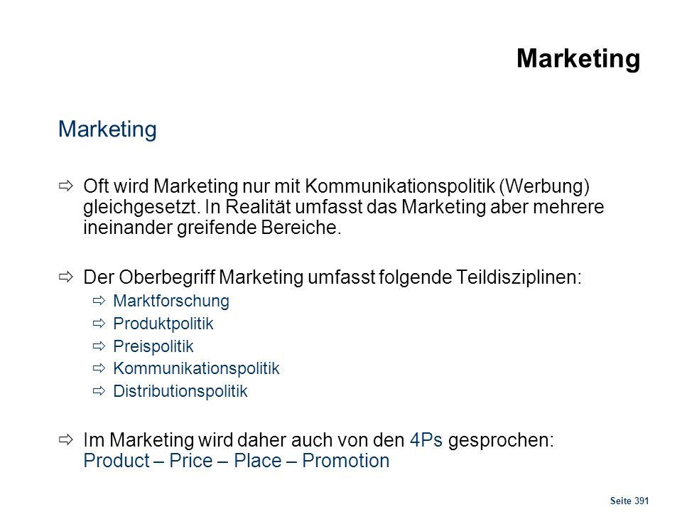 Seite 391 Marketing Oft wird Marketing nur mit Kommunikationspolitik (Werbung) gleichgesetzt. In Realität umfasst das Marketing aber mehrere ineinande