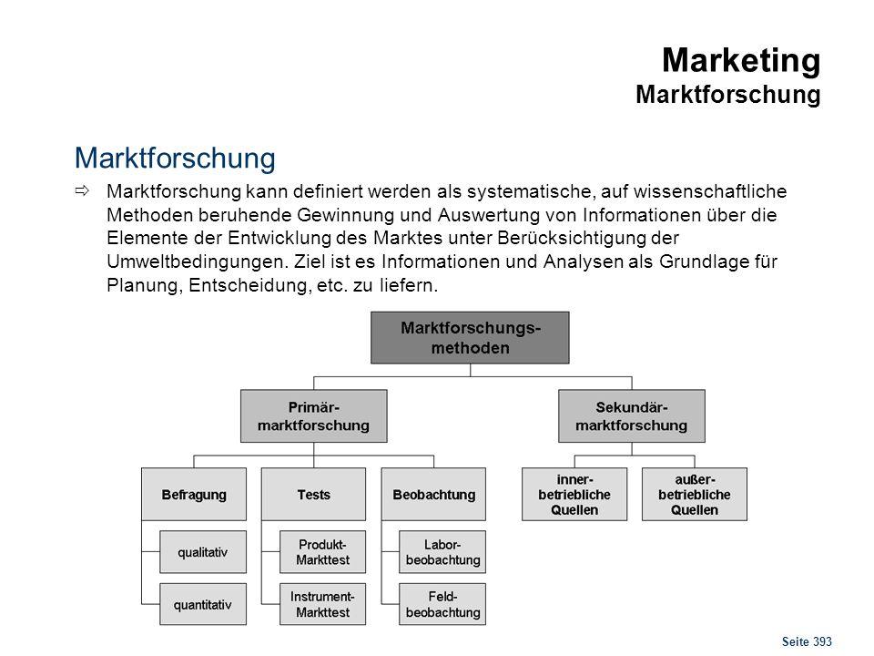 Seite 393 Marketing Marktforschung Marktforschung Marktforschung kann definiert werden als systematische, auf wissenschaftliche Methoden beruhende Gew