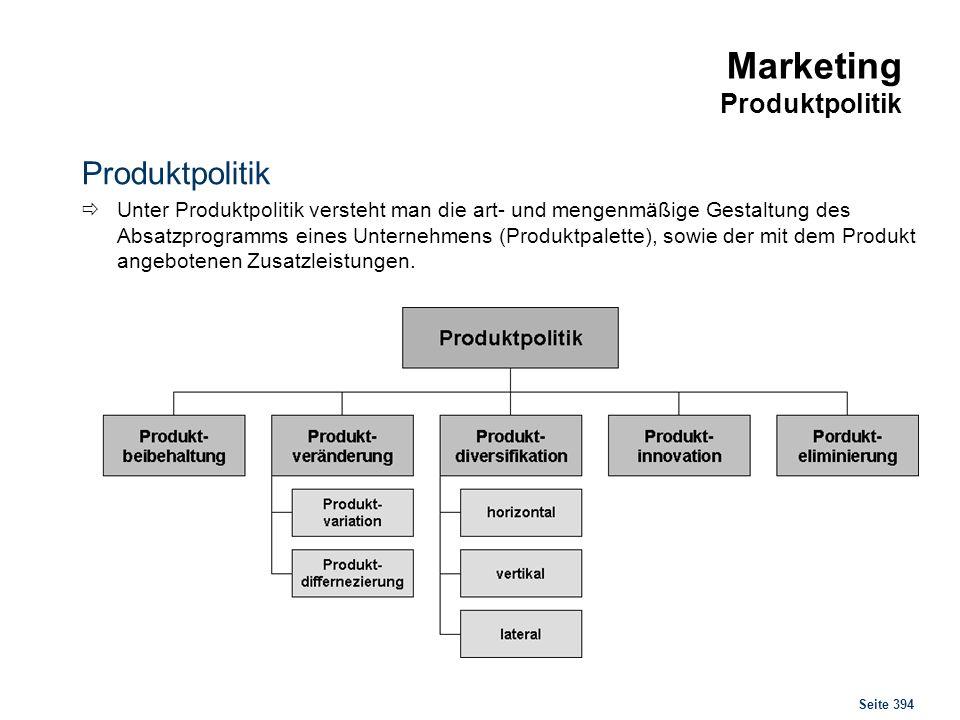 Seite 394 Marketing Produktpolitik Produktpolitik Unter Produktpolitik versteht man die art- und mengenmäßige Gestaltung des Absatzprogramms eines Unt