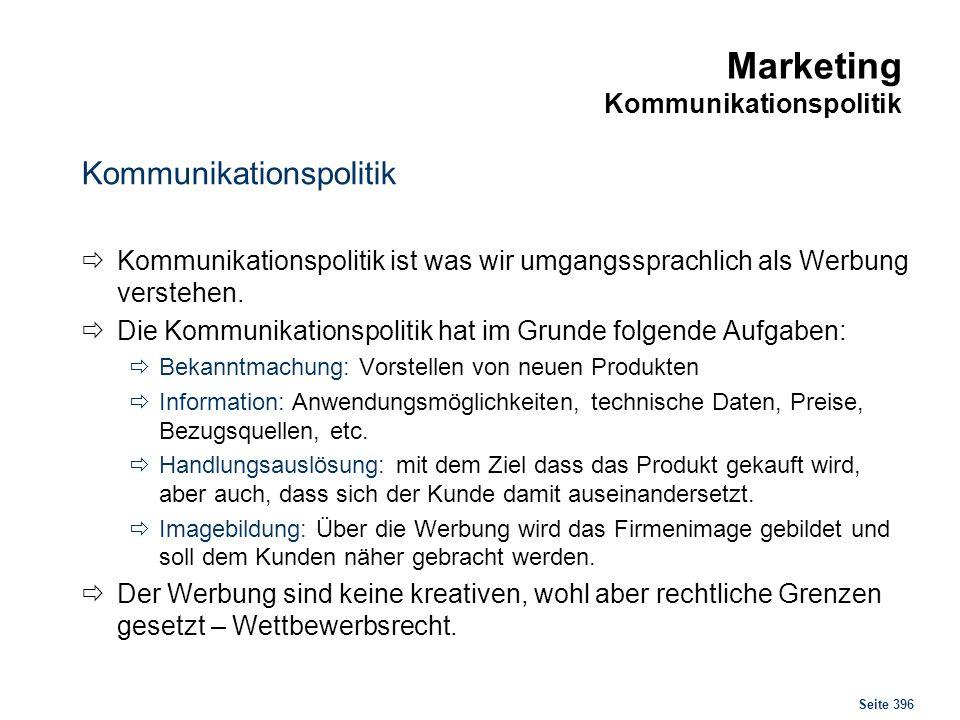 Seite 396 Marketing Kommunikationspolitik Kommunikationspolitik Kommunikationspolitik ist was wir umgangssprachlich als Werbung verstehen. Die Kommuni
