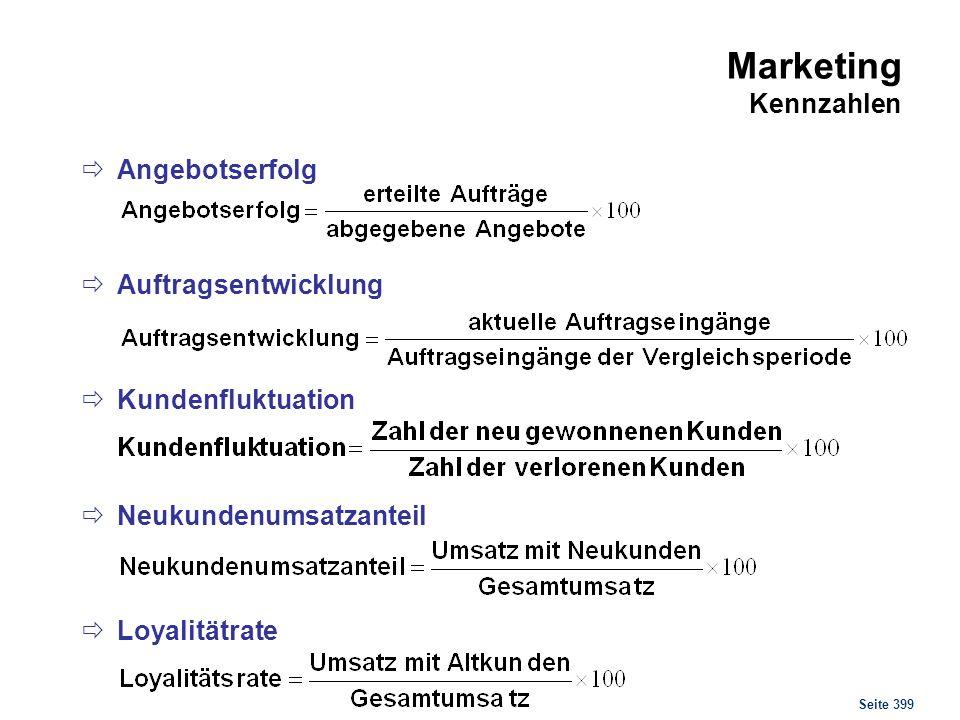 Seite 399 Marketing Kennzahlen Angebotserfolg Auftragsentwicklung Kundenfluktuation Neukundenumsatzanteil Loyalitätrate