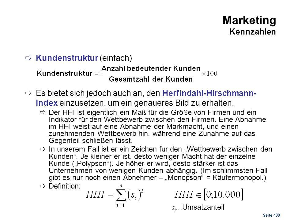 Seite 400 Marketing Kennzahlen Kundenstruktur (einfach) Es bietet sich jedoch auch an, den Herfindahl-Hirschmann- Index einzusetzen, um ein genaueres