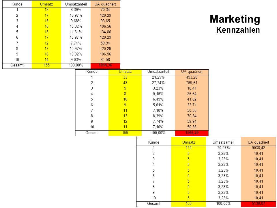 Seite 401 Marketing Kennzahlen KundeUmsatzUmsatzanteilUA quadriert 111070,97%5036,42 253,23%10,41 353,23%10,41 453,23%10,41 553,23%10,41 653,23%10,41