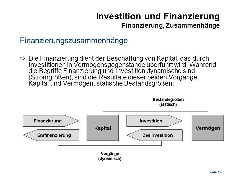 Seite 407 Investition und Finanzierung Finanzierung, Zusammenhänge Finanzierungszusammenhänge Die Finanzierung dient der Beschaffung von Kapital, das