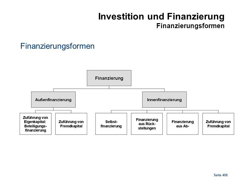 Seite 408 Investition und Finanzierung Finanzierungsformen Finanzierungsformen