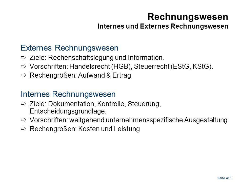 Seite 413 Rechnungswesen Internes und Externes Rechnungswesen Externes Rechnungswesen Ziele: Rechenschaftslegung und Information. Vorschriften: Handel