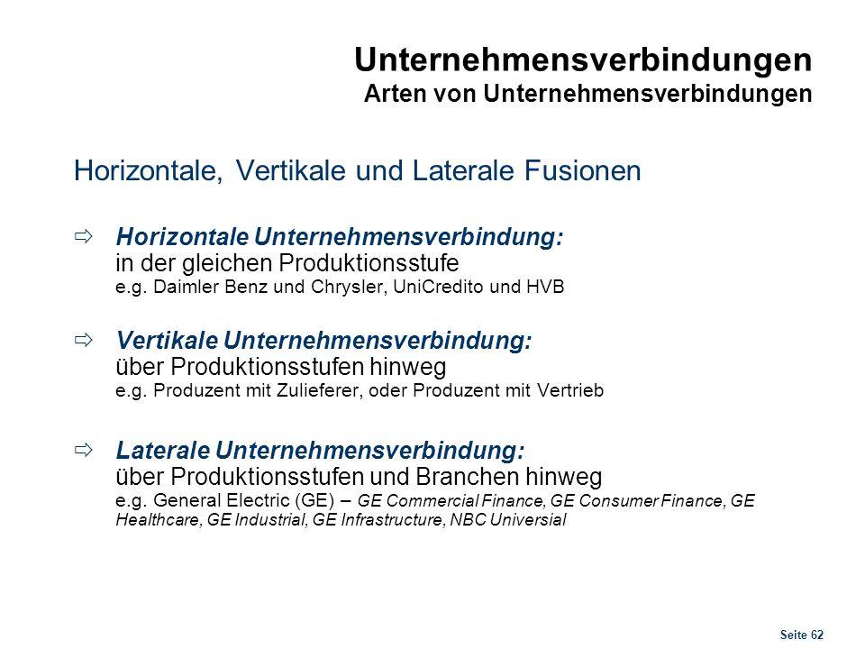 Seite 62 Unternehmensverbindungen Arten von Unternehmensverbindungen Horizontale, Vertikale und Laterale Fusionen Horizontale Unternehmensverbindung: