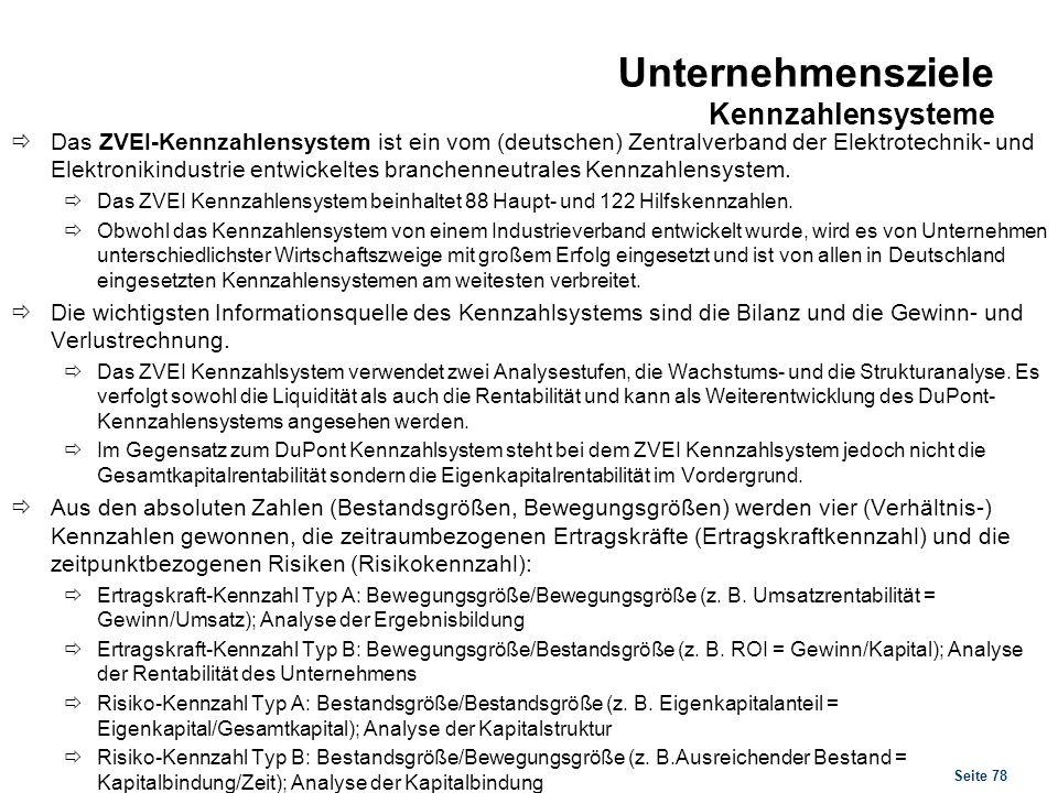 Seite 78 Unternehmensziele Kennzahlensysteme Das ZVEI-Kennzahlensystem ist ein vom (deutschen) Zentralverband der Elektrotechnik- und Elektronikindust