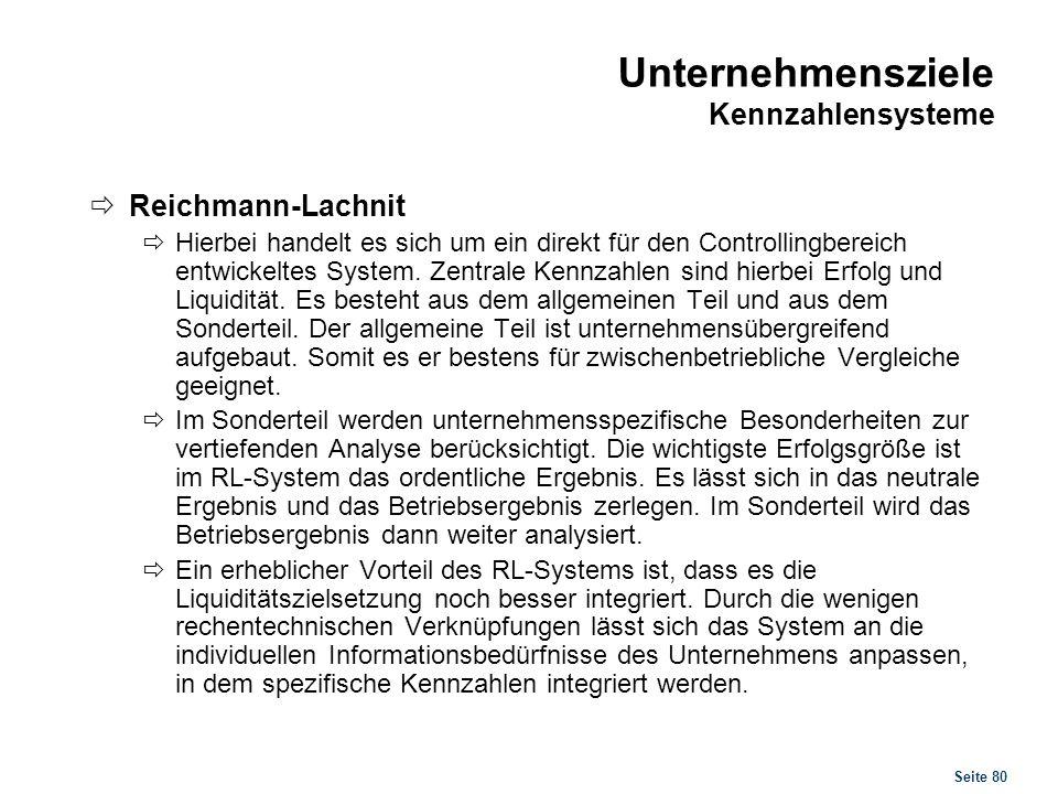Seite 80 Unternehmensziele Kennzahlensysteme Reichmann-Lachnit Hierbei handelt es sich um ein direkt für den Controllingbereich entwickeltes System. Z
