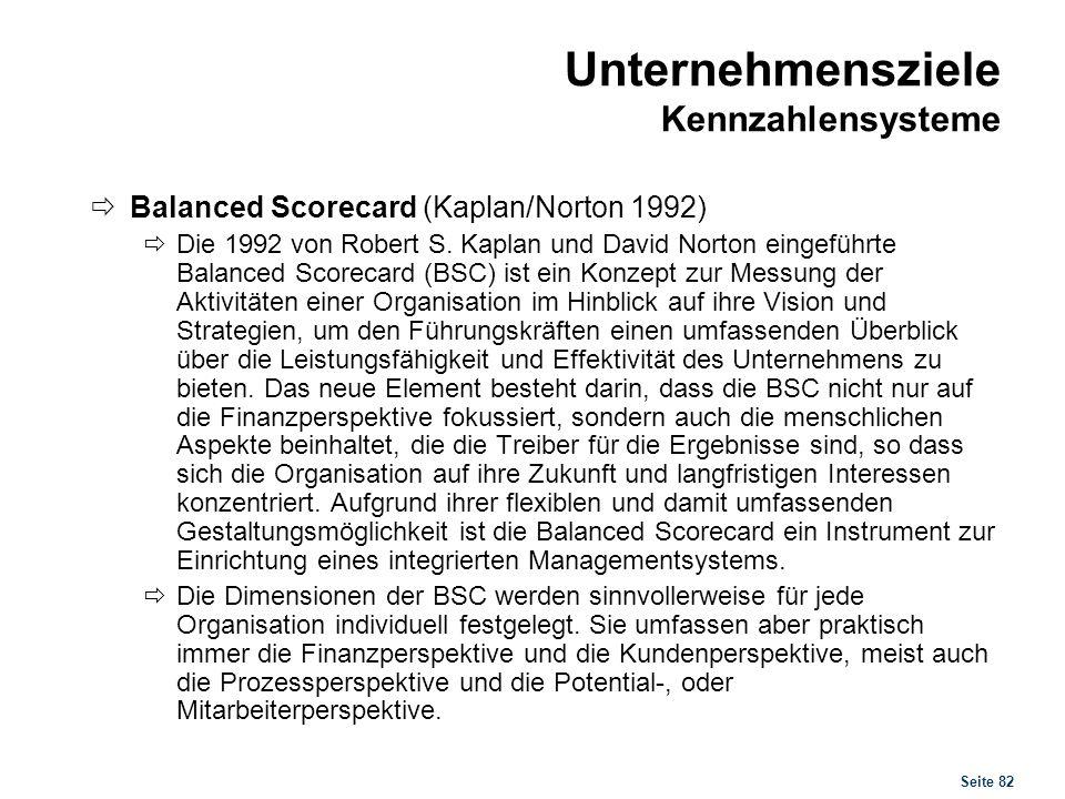 Seite 82 Unternehmensziele Kennzahlensysteme Balanced Scorecard (Kaplan/Norton 1992) Die 1992 von Robert S. Kaplan und David Norton eingeführte Balanc