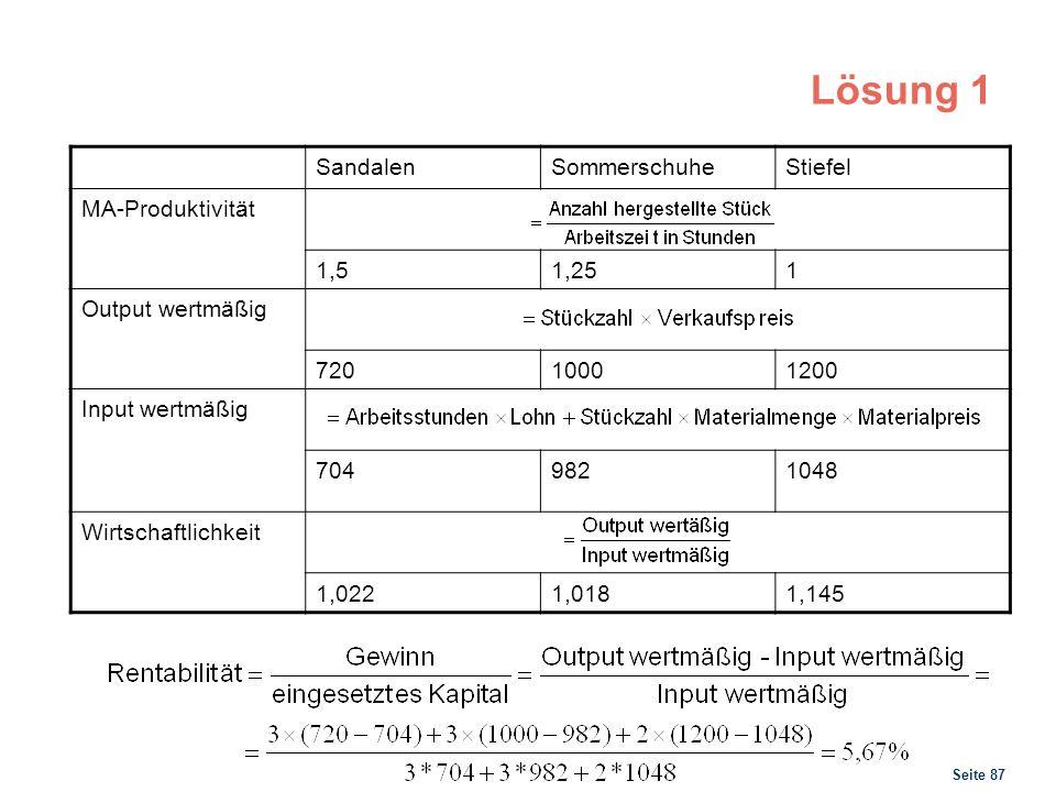 Seite 87 Lösung 1 SandalenSommerschuheStiefel MA-Produktivität 1,51,251 Output wertmäßig 72010001200 Input wertmäßig 7049821048 Wirtschaftlichkeit 1,0
