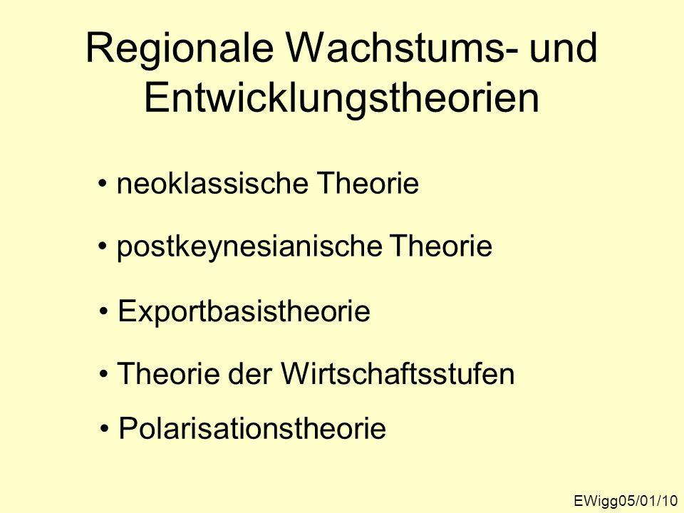 Regionale Wachstums- und Entwicklungstheorien EWigg05/01/10 neoklassische Theorie postkeynesianische Theorie Exportbasistheorie Theorie der Wirtschaft