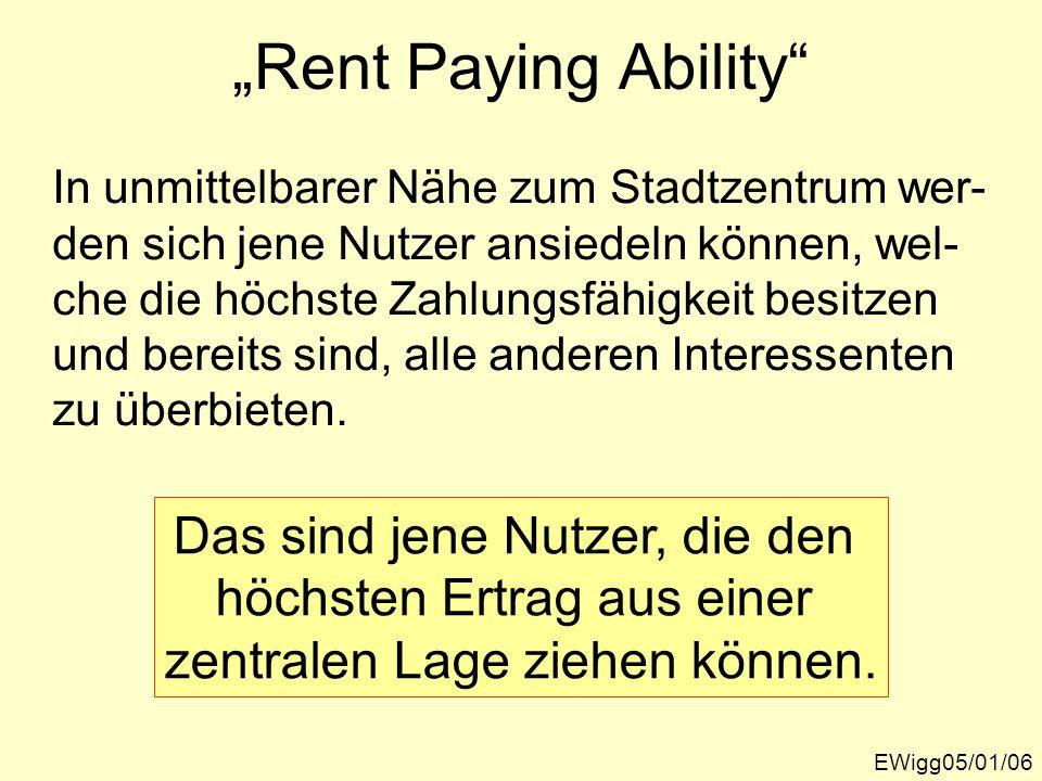 Bid-Rent-Curve: Städtische Bodennutzung und Bodenpreise EWigg05/01/07 km Stadt- zentrum Nach E.