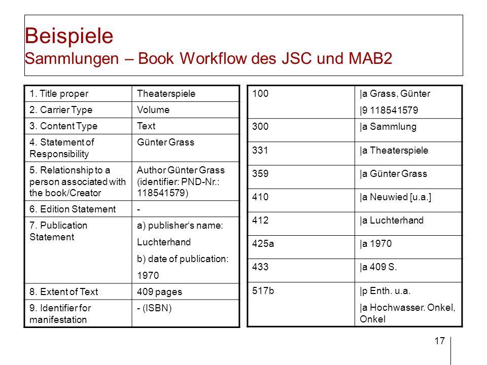 17 Beispiele Sammlungen – Book Workflow des JSC und MAB2 1. Title properTheaterspiele 2. Carrier TypeVolume 3. Content TypeText 4. Statement of Respon
