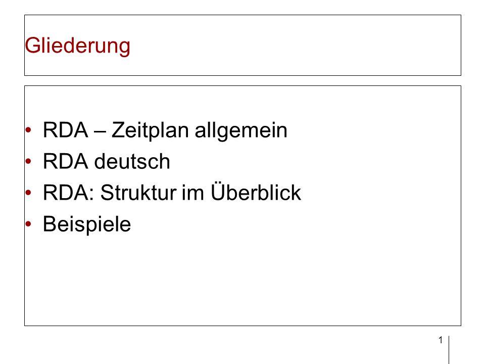 1 Gliederung RDA – Zeitplan allgemein RDA deutsch RDA: Struktur im Überblick Beispiele