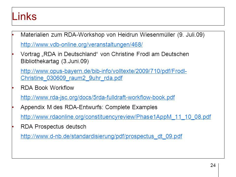 24 Links Materialien zum RDA-Workshop von Heidrun Wiesenmüller (9. Juli.09) http://www.vdb-online.org/veranstaltungen/468/ Vortrag RDA in Deutschland