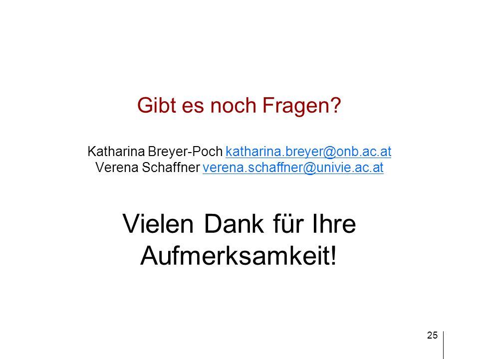 25 Gibt es noch Fragen? Katharina Breyer-Poch katharina.breyer@onb.ac.at Verena Schaffner verena.schaffner@univie.ac.at Vielen Dank für Ihre Aufmerksa
