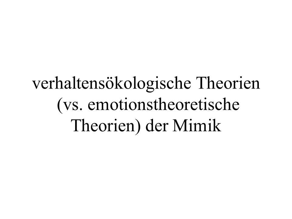 verhaltensökologische Theorien (vs. emotionstheoretische Theorien) der Mimik
