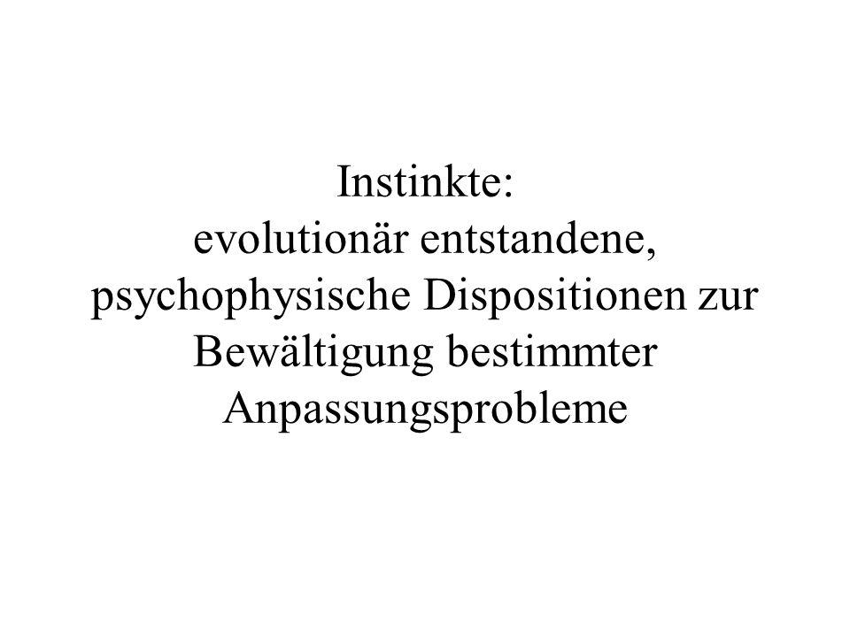 Instinkte: evolutionär entstandene, psychophysische Dispositionen zur Bewältigung bestimmter Anpassungsprobleme