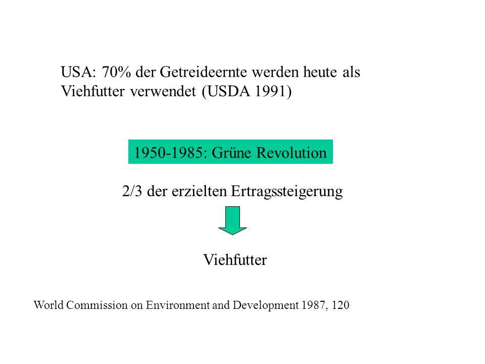 Ertragssteigerung in der Getreideproduktion < Zweieinhalbfache 2/3 davon = Futtermittel 1950-1985: GRÜNE REVOLUTION ASIATE 3/4 Getreide (=dschn.160 kg) 56 Gramm Proteine/ Tag 8 Gramm ist animal.