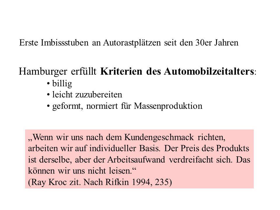 Erste Imbissstuben an Autorastplätzen seit den 30er Jahren Hamburger erfüllt Kriterien des Automobilzeitalters : billig leicht zuzubereiten geformt, n