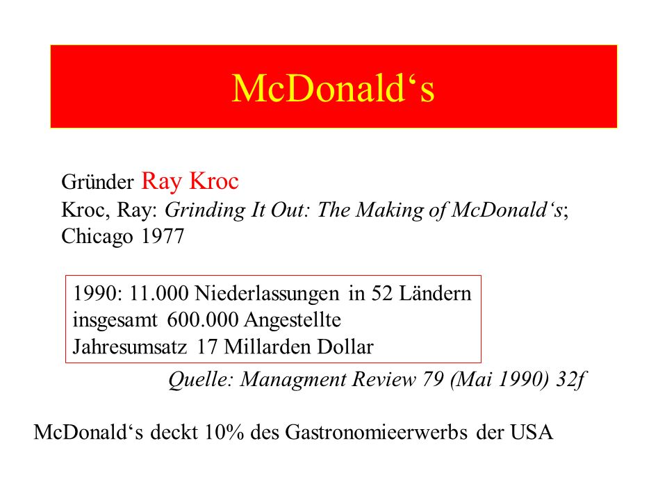 McDonalds Gründer Ray Kroc Kroc, Ray: Grinding It Out: The Making of McDonalds; Chicago 1977 1990: 11.000 Niederlassungen in 52 Ländern insgesamt 600.