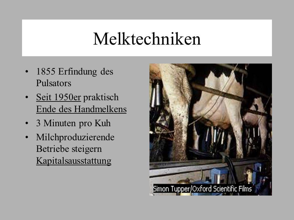 Melktechniken 1855 Erfindung des Pulsators Seit 1950er praktisch Ende des Handmelkens 3 Minuten pro Kuh Milchproduzierende Betriebe steigern Kapitalsausstattung