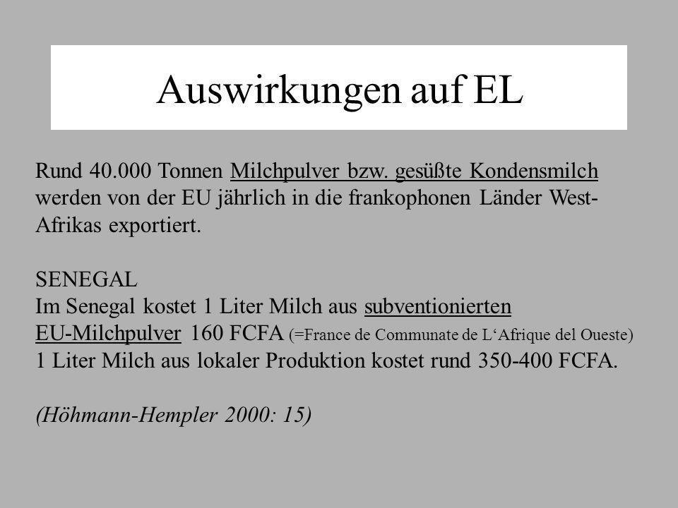 Auswirkungen auf EL Rund 40.000 Tonnen Milchpulver bzw.