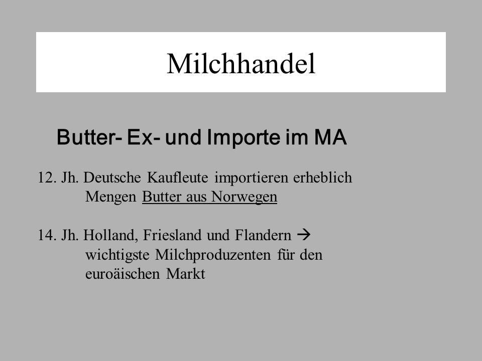 Milchhandel Butter- Ex- und Importe im MA 12.Jh.
