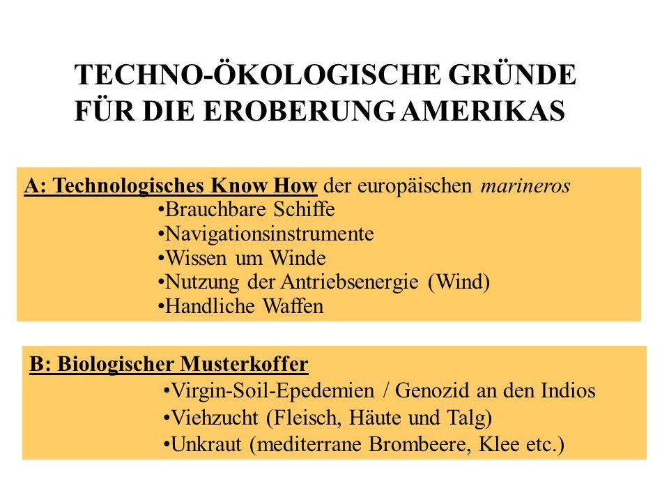 A: Technologisches Know How der europäischen marineros Brauchbare Schiffe Navigationsinstrumente Wissen um Winde Nutzung der Antriebsenergie (Wind) Ha